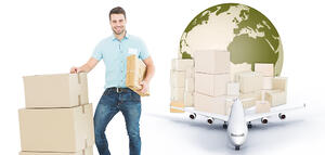 Courier man with cardboard boxes against logistics concept