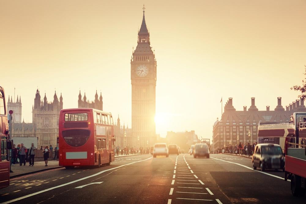 Westminster Bridge at sunset, London, UK