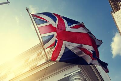 flag of UK on government building