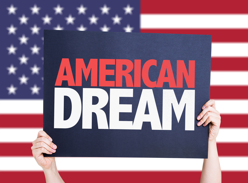 American Dream card with USA background